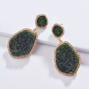 Anthropologie Druzy Quartz Earrings in Green